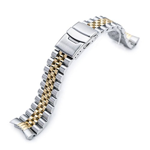 22mm Super Jubilee 316L Stainless Steel Watch Band, Solid for Seiko SKX007, Two Tone IP Gold
