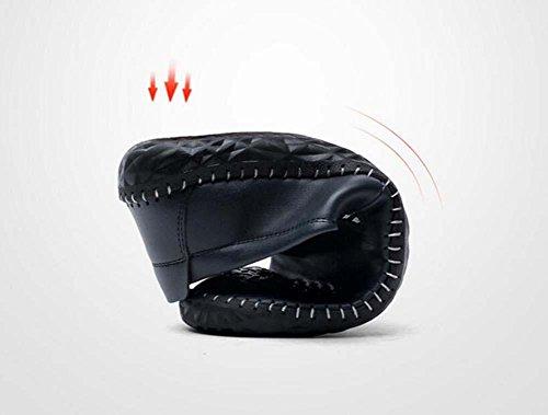 Onfly Bomba Mocasín Ponerse Casual Cuero Zapatos Pedal Zapatos Hombres Moda Color puro Antideslizante Suela blanda Grabado en relieve Zapatos perezosos Conducción Zapatos Tamaño de la UE 38-44 Blue