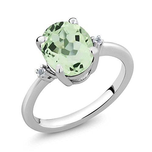 Gem Stone King Sterling Silver Oval Green Prasiolite & White Topaz Gemstone Womens Ring (2.67 cttw, Available in size 5, 6, 7, 8, 9)