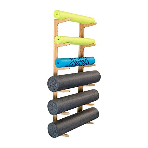 (Ultra Fitness Gear Foam Roller and Yoga Mat Rack, Storage Shelf, Bamboo Construction, Mounting Hardware Included)