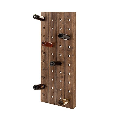 Farmhouse Wooden Wine Rack Pegboard Wall Mount Bottle Storage Holder ...