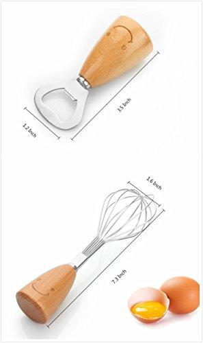 Kitchen Utensil Set - Swivel Peeler, Whisk, Skimmer, Bottle Opener, Serving Spoon, Pizza Cutter, Slotted Turner, Grater, Egg Separator, Toothpick Holder, Spoon, Fork (12 Piece) by MSXMS (Image #3)'