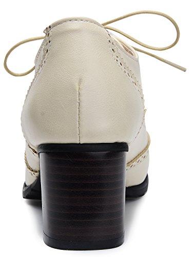 6215d1d3de Odema Womens PU Leather Oxfords Brogue Wingtip Lace up Chunky High Heel  Shoes Dress Pumps Oxfords