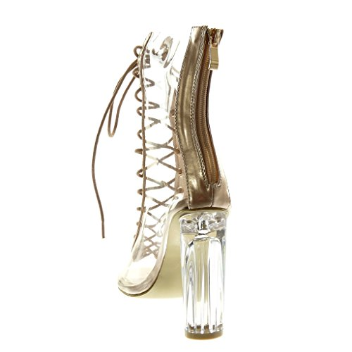 Toe High Laces Shoes Boots cm Block Women's Ankle Booty Heel Fashion Transparent Peep Angkorly 11 Champagne RwH10qp