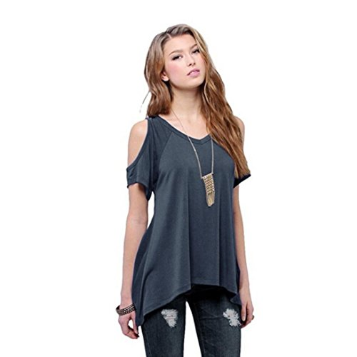 YANG-YI Women Casual V-Neck Off Shoulder T-Shirt Short Sleeve Solid Stretch T-Shirt Blouse (XL, Dark Gray) (Tee T-shirt Jacket)