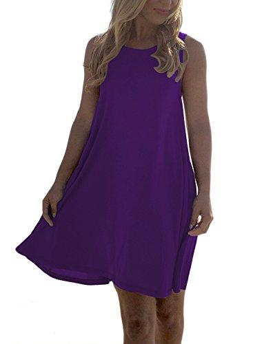 [MIHOLL Women's Sleeveless Backless Summer Swing Tank Sundress(Medium, Purple)] (Sexy Purple Dress)