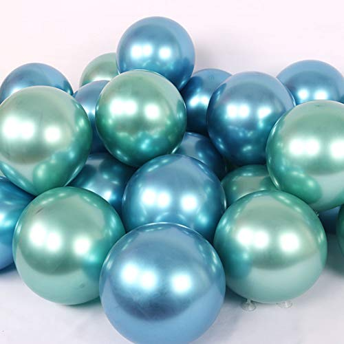 - Party Balloons 12inch 50pcs Latex Metallic Chrome Balloon in Blue Green Shiny Thicken Balloon for Wedding Graduation Birthday Baby Shower Christmas Valentine's Day Party Supplies(Green and Blue))