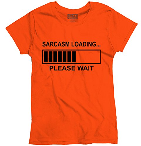 Brisco Brands Sarcasm Loading Please Wait Funny Shirt | Novelty Gift Idea Ladies T-Shirt