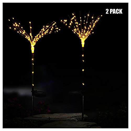 - Naiflowers 2PC Garden Solar Lamp DIY Shape Fireworks100-LED Light Outdoor Solar Wind Chime Light LED,Waterproof Color Changing Night Light Lamp for Garden Fence Pathway Party Decor (Yellow)