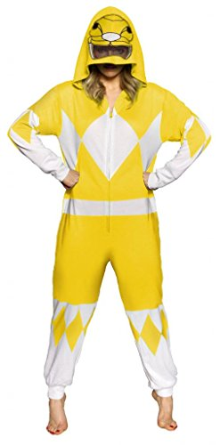 Power Ranger Suits Adults (Power Rangers Yellow Ranger Adult One Piece Pajama Union Suit (Large))