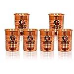 JAIPUR KALA KENDRA Copper Glass Serveware & Tableware (300 ml Each, Set of 6)