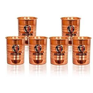 Utensils Junction Copper Glass Tumbler, Serveware & Tableware (300 ml Each, Set of 6)