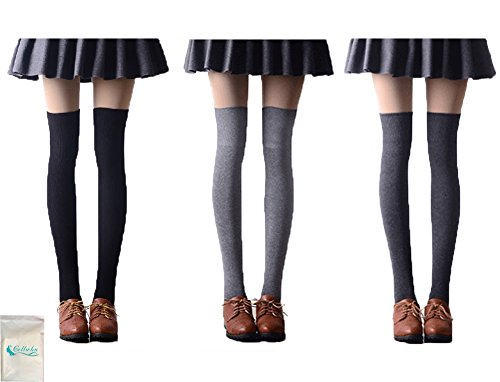 Gellwhu Women Girl Long Cotton Socks Over the Knee Thigh High Stockings 3-Pack