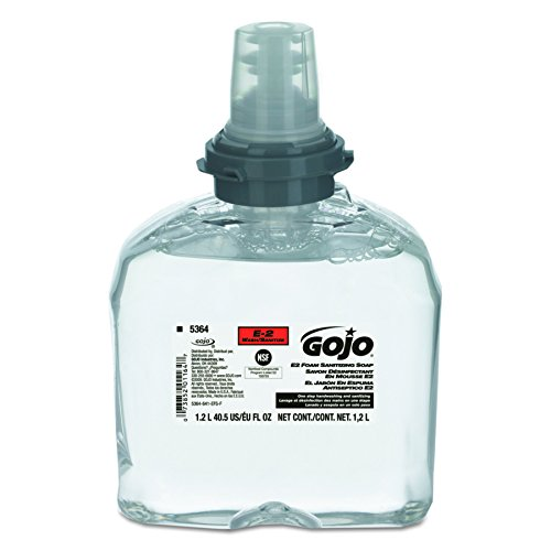 GOJO 5364-02 TFX E2 Foam Sanitizing Soap, 1200 mL (Case of 2),Compatible with Dispenser #2740-12, 2730-12, 2799-12-EEU00, 2789-12