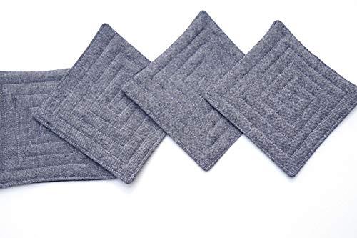Classics Textured Charcoal - Charcoal Grey Linen Fabric Coasters Set