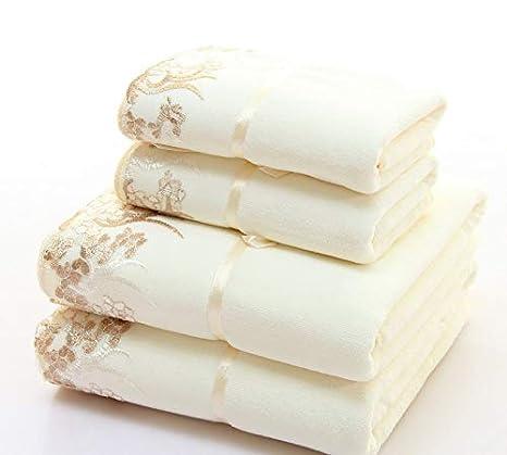 Juego de 2 toallas de microfibra, elegantes, bordadas, sólidas, 1 toalla de cara y 1 toalla de baño de secado rápido para adultos: Amazon.es: Hogar