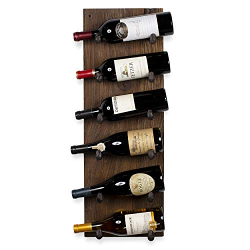 (Rustic State Reclaimed Wood Wall Mounted Wine Rack Bottle Holder with Railroad Spike Hooks Holds 6 Bottles )