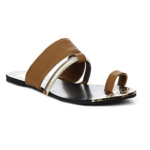 CAPE ROBBIN Aurea-Tz-8-Cr Womens Open Toe Flat Thong Sandals Brown