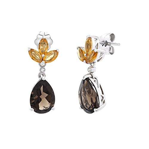(Brilliant Designers 3.2 CT Citrine & 0.66 CT Smokey Quarts & Diamond Accented Drop Earrings Set In Sterling Silver)