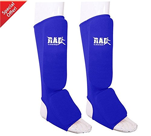RAD Ultimate Strength RAD MMA Shin Instep Foam Pad Support Boxing Leg Guards Foot Protective Gear Kickboxing Blue (Medium)