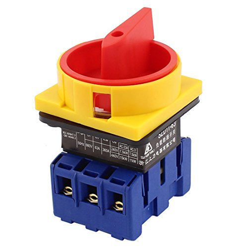 Uxcell a15020500ux0393 AC 63A ON/OFF 2 Positions 3 Phase Rotary Cam Changeover Switch, 660V (Disconnect Rotary Switch)
