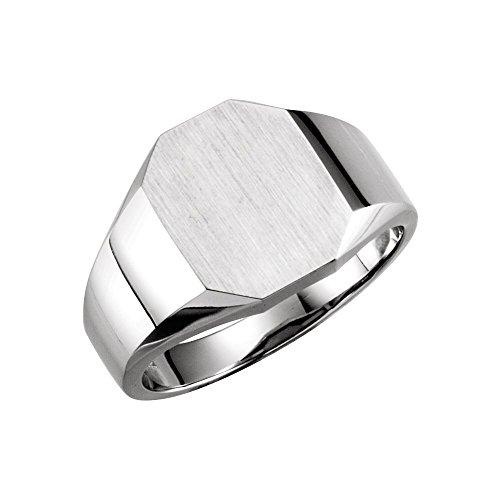 (Bonyak Jewelry 18K Palladium White 11x9 mm Octagon Signet Ring in 18k White Gold - Size 6)