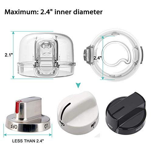 415u9d6pZ7L Stove Knob Covers for Child Safety (5 + 1 Pack) Double-Key Design and Upgraded Universal Size Gas Knob Covers Clear View Childproof Oven Knob Covers for Kids, Babies    Product Description