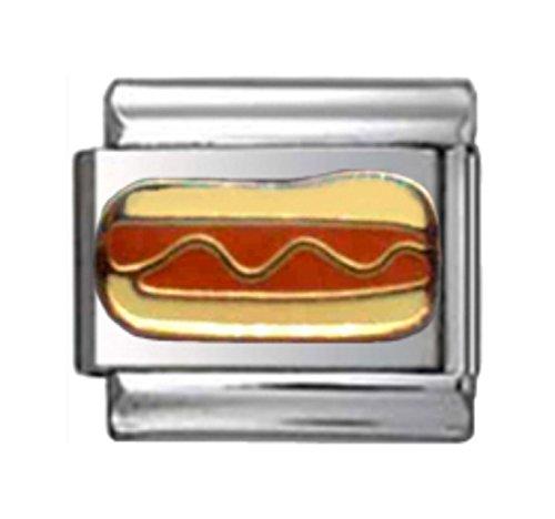 Stylysh Charms HOT Dog Hotdog Mustard BUN Enamel Italian 9mm Link FO001 ()
