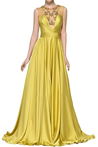 Sunvary Elegant Jewel Evening prom Dress A-Line Sleeveless Beading Rhinestone Size 17W- Gold