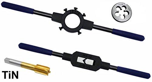 4 PC Professional Tap and Die Titanium 1/2-28 Set Premium Quality Non Slip Wrenches