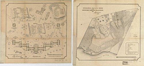 1860 18 x 23 Old Vintage Antique Map Maps Saint Elizabeths Hospital, Washington D.C. Professional Reprint a3696 by Vintography