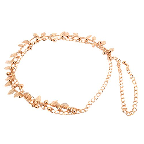 - LABANCA Womens Metal Chain Dress Belt Hollow Out Leaf Bead Pendant Sweater Belt Decorated Skinny Waist Belt Gold