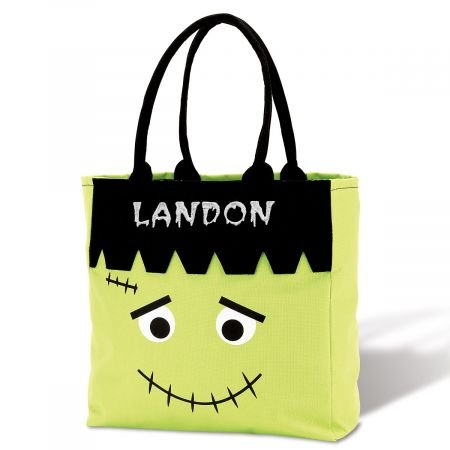 Lillian Vernon Personalized Kids Frankenstein Halloween Character Treat Bag - Polyester 12'' wide Trick or Treat Bag