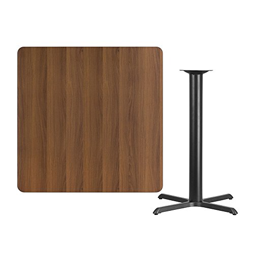 Offex 42'' Square Walnut Laminate Table Top with 33'' x 33'' Bar Height Table Base