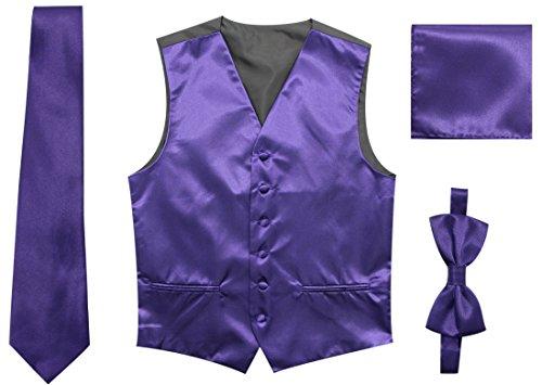 JAIFEI Satin Men Wedding Vest – Set Neck Tie, Bow Tie & Handkerchief (XXL(Chest 48), Dark Purple)