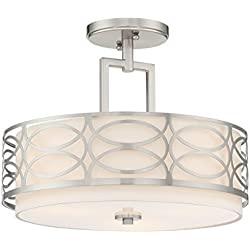 "Kira Home Sienna 15"" 3-Light Semi Flush Mount Ceiling Light + Glass Diffuser, Brushed Nickel Finish"
