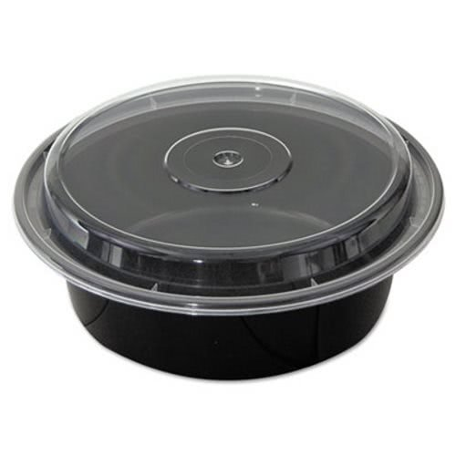 Pactiv VERSAtainers, Black/Clear, 32 oz, 7 Inch Dia x 2 Inch H - 150/Carton (3 Cartons)