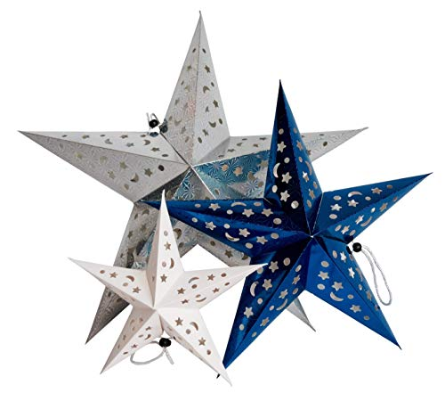 Time Away Paper Star Lantern Decorations -- 1 Large Metallic Silver Star, 1 Medium Metallic Star and 1 Small White Star ()