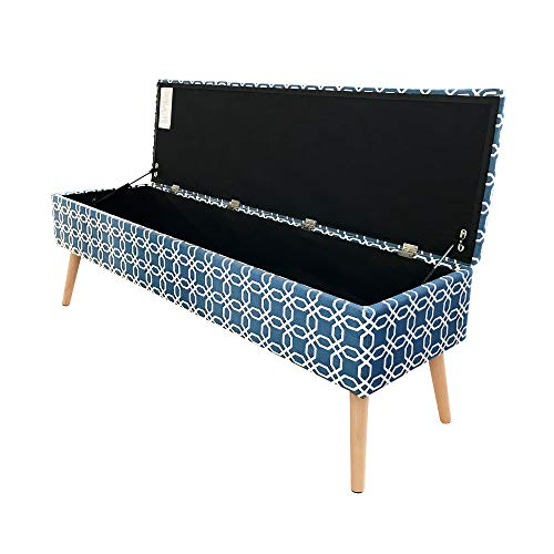 Otto Ben Mid Century Ottoman with EASY LIFT Top, Upholstered Shoe Ottomans Seats for Entryway and Bedroom, Octagon Blue