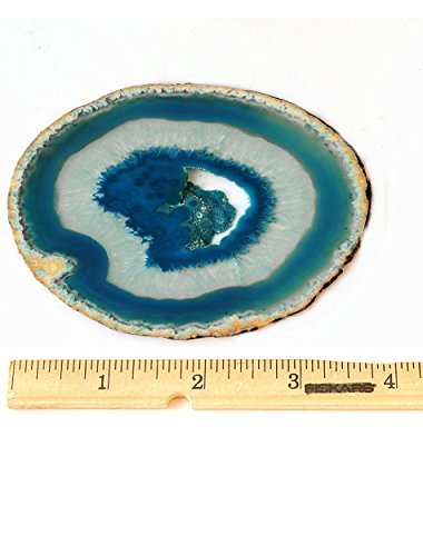 AMOYSTONE Teal Agate Coaster 3.5-4'' Dyed Sliced Genuine Brazilian Teal Agate Drink Coasters with Rubber Bumper Set of 4 by AMOYSTONE (Image #4)