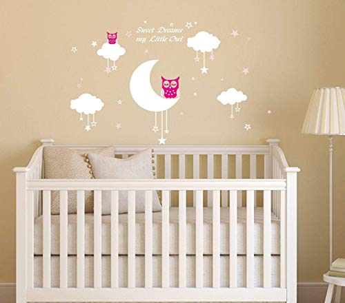 Nursery Wall Decals~Moon Clouds Stars Wall Decals Sweet Dreams My Little Owl Quotes Vinyl Wall Sticker Good Night Nursery Wall Decor for Kids Baby Room Decoration (Pink)