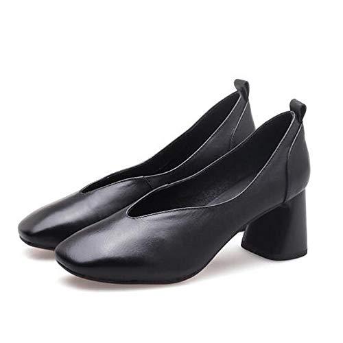 Noir ZHZNVX Chaussures Femme Nappa Leather Summer Comfort Heels Hétérougeypique Talon Noir Chameau 37 EU