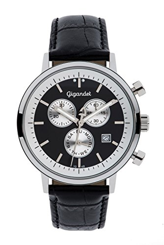 Gigandet Men's/Women's Quartz Watch Classico Chronograph Analog Leather Strap Black Silver G6-003