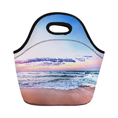 Vontuxe Insulated Lunch Tote Bag Sunset Sunrise Beach Byron Bay Jamaica Cancun Sand Virginia Outdoor Picnic Food Handbag Lunch Box for Men Women Children (Best Shopping Virginia Beach In)
