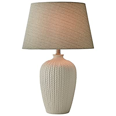 "Stone & Beam Patterned Table Lamp With Bulb, 24""H, White - Classic lines with modern touches make this lamp look elegant on a nightstand or end table in most any style room. Subtle line patterns add texture to the white ceramic base, while a light grey linen shade. 18"" Diameter x 24""H Ceramic base, fabric shade, metal hardware - lamps, bedroom-decor, bedroom - 415uC9Z00VL. SS400  -"