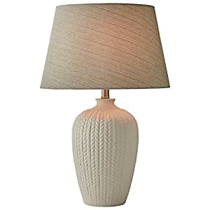 stone beam patterned table lamp with bulb 24 h white. Black Bedroom Furniture Sets. Home Design Ideas