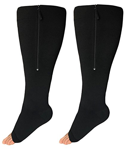 Runee Wide Calf Zipper Compression Socks, Open Toe Knee High 20-30mmHg - Extra Large Full Calf Support for Medical, Diabetic, Travel, Athletes, and Maternity Uses (Black)
