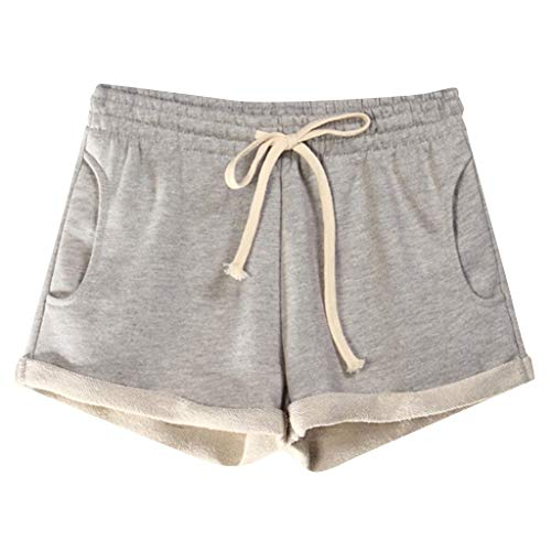 Women Casual Solid Pockets Elastic Waist Loose Pajama Shorts Gym Sport Pants Gray (Bieber Justin Pjs)
