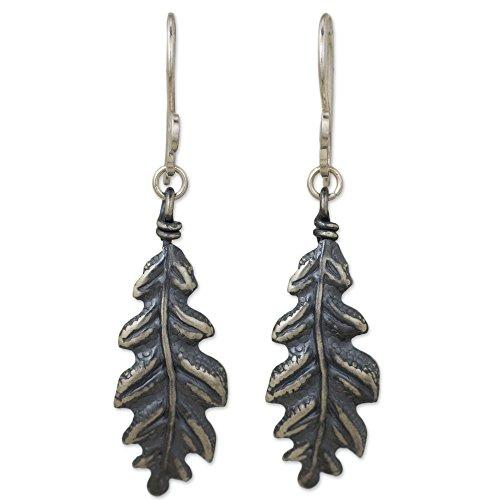(NOVICA .925 Sterling Silver Dangle Earrings 'Midnight Oak Leaf')