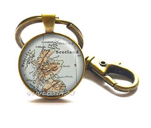Scotland map Keychain, Scotland map jewelry map jewellry Edinburgh map Glasgow map Scottish Highlands traveler's gift,ot2 (Scottish Key Ring)